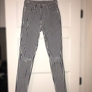 Navy blue and white striped skinny jeans